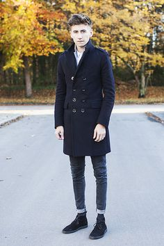 Get this look: http://lb.nu/look/4193299  More looks by Christoph Schaller: http://lb.nu/christophschaller  Items in this look:  Burberry Coat, Cos Shirt, Acne Studios Acne Jeans, Zara Desert Boots