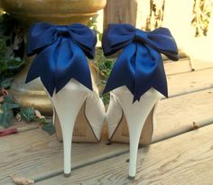 Satin Bow Shoe Clips - set of 2 -  Bridal Shoe Clips, Wedding shoe clips many colors to choose from via Etsy