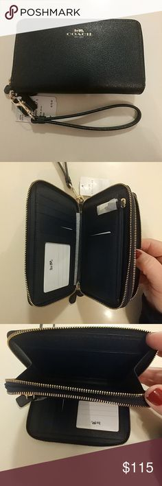 COACH Double Zip Wallet/Wristlet COACH Double Zip Wallet/Wristlet BRAND NEW! 8 card slots in one zipper compartment, plus zipper change purse the other zipper compartment is perfect for cash, receipts etc. Its the perfect size  wallet! Color is dark navy blue, although pics look black. Price is firm Coach Bags Wallets