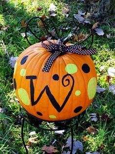 Another Daily Blog: DIY Monogramed PAINTED pumpkin for under 3 bucks!