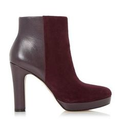 DUNE LADIES OLYMPE - Leather & Suede Mix Material Heeled Ankle Boot - berry | Dune Shoes Online