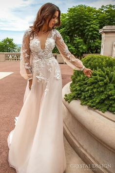 crystal design 2017 bridal long sleeves cuff bishop deep v neck heavily embellished bodice romantic a line wedding dress sheer back chapel train (alison) mv #weddingdress