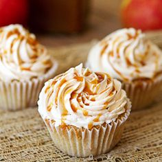 Welcome Fall with Caramel Apple Pie Cupcakes: cinnamon cupcakes with apple pie filling, topped with caramel Swiss buttercream.