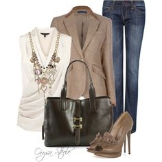 Work Outfit - Business Casual for Women. I'd ditch the necklace, change the shoes, and maybe different jeans. Fashionista Trends, Fashion Trends, Casual Chic, Work Casual, Casual Fridays, Fall Outfits, Casual Outfits, Cute Outfits, Work Outfits