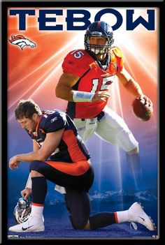 "Tim Tebow Denver Broncos Framed Poster. The ""Tee-Bow"" one knee stance"