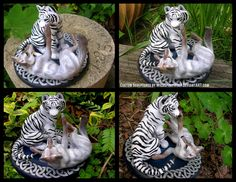 This is 's completed topper of a white tiger and wolf on a Celtic knotwork base for her wedding cake. Additional pics of the individual animals and base. Celtic Tiger And Wolf Wedding Topper Lps Toys, Casual Art, Wedding Topper, Wedding Cakes, Cute Tigers, My Perfect Wedding, Cute Polymer Clay, Custom Cake Toppers, Celtic