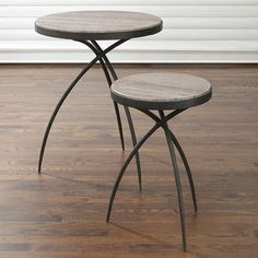 Studio-A by Global Views Tripod Table w/Grey Marble Top-Small - Hand forged iron base with polished grey marble inset. Available in two sizes. Tall End Tables, Marble End Tables, End Table Sets, End Tables With Storage, Wooden Table Top, Chair Side Table, Side Tables, Marble Top, Gray Marble