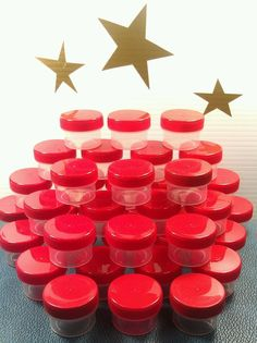 40 Tiny Little Small Plastic Jars RED Screw Lid Caps Container Decojars 3803 USA #DecoJars