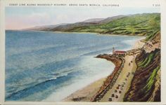 Postcard,Roosevelt Highway,Lighthouse,Pacific Palisades,California.