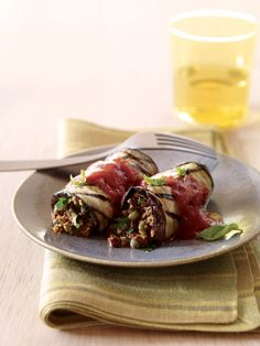 Vegetarian and Vegan Grilled Eggplant Involtini (add in ground beef for filling) - added ground beef and broiled eggplant instead of grilling. YUM! Love the hit of salt/brine from the olives. Used tapanade instead of olives.