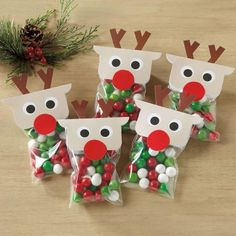 Treat Bags with Reindeer Toppers. set includes 36 each: clear 3 x 5 bags for your own treats, reindeer toppers with cute pop-up antlers, and red-nose stickers. Christmas Treats For Gifts, Christmas Treat Bags, Cheap Christmas Gifts, Homemade Christmas Gifts, Christmas Crafts For Kids, Christmas Projects, Simple Christmas, Handmade Christmas, Holiday Crafts