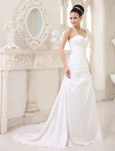 Halter A-Line Ruched Wedding Dress With Rhinestones Sweetheart & Sweep Train