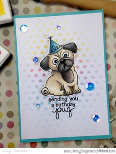 Simon Says Stamp Wednesday Challenge – Anything Goes – Inkyfingers & Ribbon | Pug Hugs stamp set by Newton's Nook Designs #newtonsnook