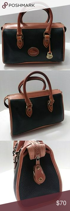 Dooney & Bourke vintage satchel Nice black & brown leather tote satchel vintage purse in good clean condition. A167583 purse number, size large Dooney & Bourke Bags Satchels