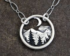 Splendiferous: A gorgeous landscape Mountains and the Moon Pendant - Silver Nature Necklace - Landscape - Mountain Range and Pines at Night - Everyday Necklace Cute Jewelry, Metal Jewelry, Sterling Silver Jewelry, Jewelry Accessories, Jewelry Design, Jewelry Roll, Geek Jewelry, Travel Jewelry, Jewelery