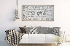 Family Rules Sign, Personalized Sign, I Love You Sign, Say Please and Thank You, Dream Big, Share, Laugh, Gift for Her,Keep Your Promises