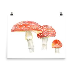Toadstools Watercolor #watercolorarts