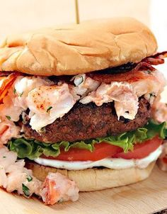 Grilled Burgers with Lobster Meat & Bacon The whole recipes is at http://greekfood-recipes.com/posts/Big-Beef-Burgers-36668