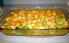 Cheesy Chicken Broccoli & Tater Tot Bake 1 bag (32oz) frozen tater tots 1 can cream of chicken 1 can cheddar cheese 1 bag frozen broccoli 1lb chicken, cubed shredded cheese of choosing (I used a fiesta mix) Heat cream of chicken and cheddar cheese with one can of water in saucepan. Add broccoli when heated. Spray 9x13 baking dish with cooking spray. Line bottom of dish with tater tots. Add broccoli and cheese mix as well as chicken. Top with the rest of the tater tots and sprinkle ...