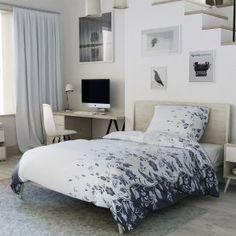 Bavlněné povlečení bílé černé květiny květy zahrada listy lístky Comforters, Blanket, Bed, Furniture, Home Decor, Lily, America, Creature Comforts, Quilts