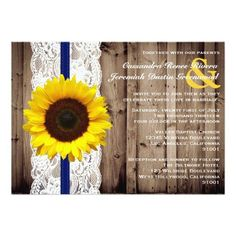#weddinginvitation #weddinginvitations (Rustic Wooden and Lace with Sunflower…