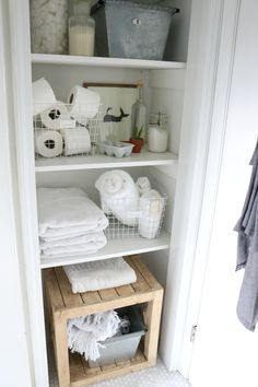 Bathroom Closet Idea- Storage Solutions #closetorganization #storage #smallspaceliving