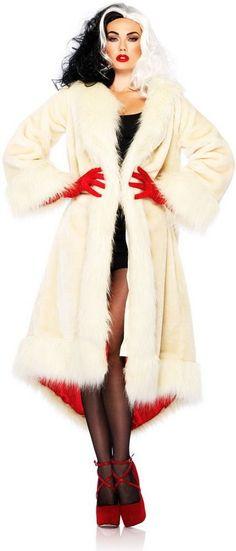 101 Dalmatians Cruella Deville Coat Disney License Halloween Costume Adult Women