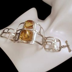 TO,THE,SQUARE,-,silver,bracelet,with,Baltic,Amber,sterling Silver Bracelet, silver Bracelet with Amber, Amber Bracelet, Silver Jewellery, Ha...