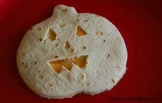 Halloween snack - make a pumpkin quesadilla for lunch!