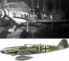 Франц Менцель в своем Bf 109K-4 (W.Nr. 330204) 9./JG 77 ноябрь 1944 года.