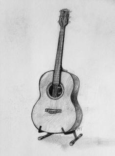 Art by Matilda Ideström - Music Sketch, Guitar Sketch, Guitar Drawing, Guitar Art, Music Drawings, Dark Art Drawings, Art Drawings Sketches Simple, Easy Drawings, Pencil Sketch Drawing