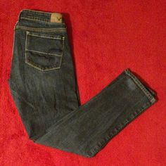 American Eagle Outfitters Skinny Stretch Blue Jeans Size 8 Short #AmericanEagleOutfitters #SlimSkinny