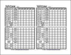 Free Printable Triple Yahtzee Sheet  Triple Yahtzee Scorecards