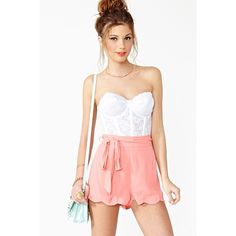 Pixie Scalloped Shorts ($42) ❤ liked on Polyvore