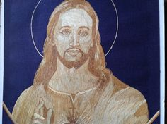 JESUS CHRIST  Sacred Heart in rice straw art. Do U by museumshop, $75.00