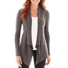 St. John's Bay® Long-Sleeve Ribbed Flyaway Cardigan  found at @JCPenney