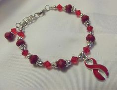 Red Awareness bracelet for MADD, AIDS, Hypertension, heart disease, and more.