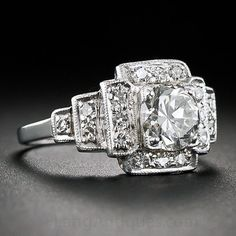 Art Deco Halo Round Diamond Engagement Ring 1.36ct by blueriver47. Whoa! Gorgeous.