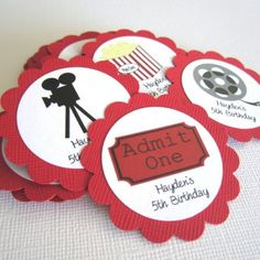 Another fun party theme is Movie Night or Theater party. This is a perfect party theme for children party as well as for movie nerds. These movie themed party tags would be great to adorn your favors. You'll get 12 PERSONALIZED Movie themed gift tags that I'll choose randomly. If you have a preference in image or color, please let me know and I do my best to accommodate you. These tags come with Board, Director Chair, Film Canister, Movie Camera, Popcorn, Soda, and Movie Tickets.