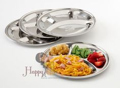 Happy Tiffin, Round Mess Tray, Section Plates - 4 Pack