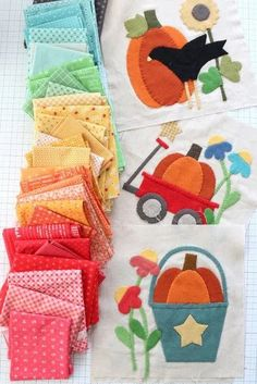 Fall Sewing using Lori Holt fabrics from Riley Blake and wool applique patterns