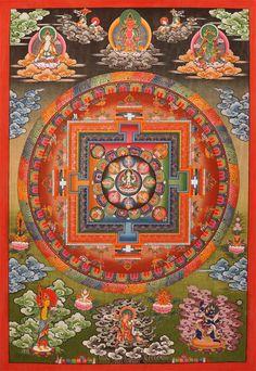 Thangka Chenrezig Mandala . Marvellous Mandala of Avalokiteshvara (Chenrezig). Sadakshari Lokeshvara Mandala-Thangka. Buddhistische Thangkas, Statuen und Mandalas. Marvelous buddhist Statues, Mandala and Thangka from Snow Lion