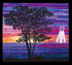 2014 Quilt Expo Quilt Contest, Honorable Mention, Category 10, Wall Quilts,Machine Quilted - Mixed or Other: Sunset Sentinel, Cathy Geier, Waukesha, Wis., www.quitexpo.com
