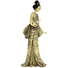 "Oriental Furniture 16"" Geisha Figurine w/ Nature Symbols Kimono                                                                                                                                                                                 More"