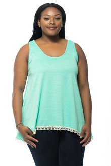 Seafoam Green Lace Trim Plus Size Tank