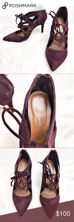 """Saks Fifth Avenue Suede Leather Crystal Heels Gorgeous wine colored heels by Saks Fifth Avenue.  All suede leather upper with man made soles and gold hardware.  Soft padded foot bed.  Lace up style with functional heel zipper.  In excellent like new condition with very light wear on the soles.  Heel measures approximately 4"""". Saks Fifth Avenue Shoes Heels"""