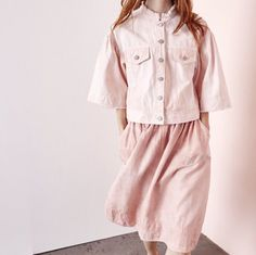 Audrey Louise Reynolds and Ulla Johnson collab- using pink natural dye and machine processing, which eliminates water waste and uses half the energy typically needed in chemical dyeing in machines.