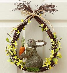Easter Bunny Wreath  Get their Spring décor hopping with this beautiful and truly original Bunny Wreath. Crafted from natural twigs, with a stunning dried grass bunny and pastel paper flowers, this stunning gift makes an ideal Easter and Spring decoration for years to come, displayed on a door or wall. Charming and whimsical wreath also makes a terrific hostess gift. $39.99 We can make this.
