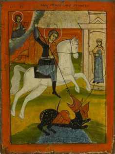 Detailed view: FF051. Saint George and the Dragon- exhibited at the Temple Gallery, specialists in Russian icons