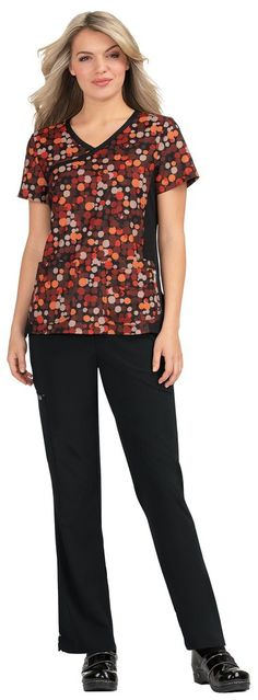 Front yoke with mock-wrap neck Front waist darts for shaping Three front pockets Easy care fade-resistant stretch fabric Side slits Length size Small: polyester Spandex stretch SKU: M Color, Top Colour, Koi Scrubs, Textiles, 4 Way Stretch Fabric, Neck Wrap, Scrub Tops, Plus Size Tops, Mannequin